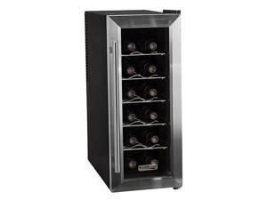 Koldfront 12 Bottle Stainless Steel Slim-Fit Thermoelectric Wine Cooler - Black/Stainless Steel