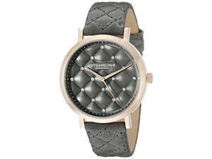 Stuhrling 462 01 Women's Audrey Quartz Quilted Swarovski Crystal Grey Watch
