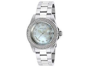 Invicta Womens Angel Swiss Mother of Pearl White Dial Crystals Bezel Watch 19873