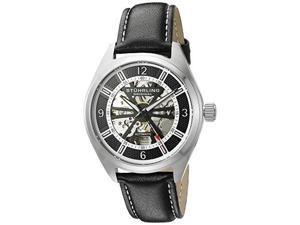 Stuhrling 598 02 Turbine Automatic Skeleton Black Leather Mens Watch