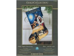 "Gold Collection Holy Night Stocking Counted Cross Stitch Kit-16"" Long"