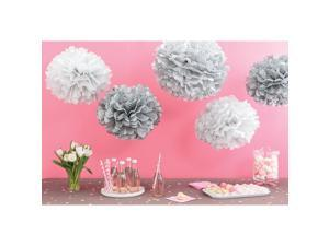Tissue Paper Pom-Pom Kit -Silver Patterned