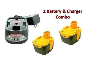 Ryobi HP496 (2 Pack) EE1221 9.6v Ni-Cd Batteries & (1) 9.6v Charger Combo # 130269014-2BC-140295002