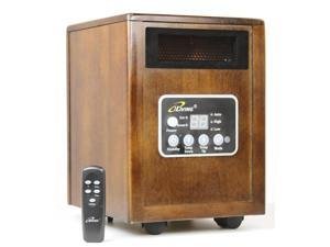 iLIVING 1500W Infrared Wooden Cabinet Portable Space Heater with Dual Heating System, Dark Walnut