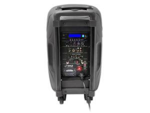 New Pyle PPHP159WMU 15'' 1600 Watt Bluetooth Music Streaming Portable Loudspeaker System - Built-in Rechargeable Battery, 2 Wireless Mics, FM Radio, LCD Readout, USB & SD Card Readers