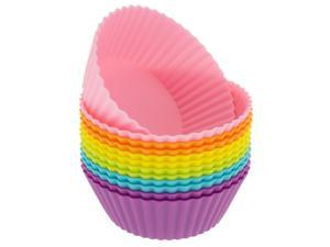 Freshware CB-304SC 12-Pack Silicone Mini Round Reusable Cupcake and Muffin Baking Cup, Six Vibrant Colors