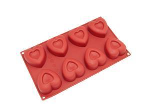 Freshware SL-110RD 8-Cavity Medium Heart Shape Silicone Mold for Soap, Cake, Bread, Cupcake, Cheesecake, Cornbread, Muffin, Brownie, and More