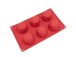 Freshware SL-111RD 6-Cavity Diamond Shape Silicone Mold for Soap, Cake, Bread, Cupcake, Cheesecake, Cornbread, Muffin, Brownie, and More