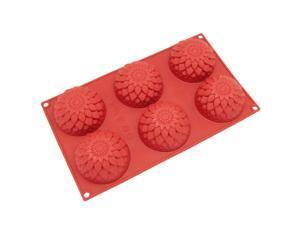 Freshware SL-121RD 6-Cavity Silicone Blossom Muffin, Brownie, Cornbread, Cheesecake, Panna Cotta, Pudding, Jello Shot and Soap Mold