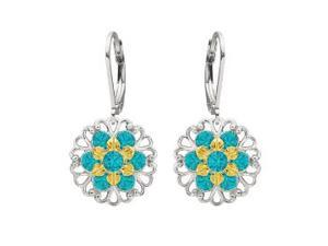Lucia Costin Dangle Flower Earrings Made of .925 Sterling Silver with 24K Yellow Gold over .925 Sterling Silver Set with Turquoise - ...