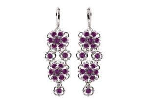 Lucia Costin Lever Back Multi Flower Chandelier Earrings Made of .925 Sterling Silver with Purple Swarovski Crystals, Crafted with ...