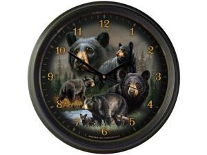 """American Expedition 16"""" Wall Clock Black Bear Collage WCLK-301"""