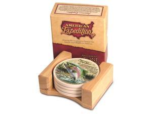 American Expedition Set of 4 Stone Coasters - Trout