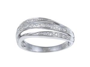 10k White Gold 1/8 TDW Curved Pave Split Diamond Ring (G-H, I1-I2)