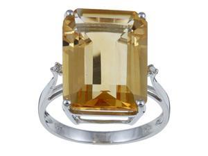 10k White Gold Emerald Cut Citrine and Diamond Ring - size 6