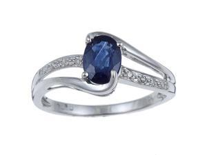 10k White Gold Genuine Blue Sapphire and Diamond Ring (1/10 TDW) - size 5