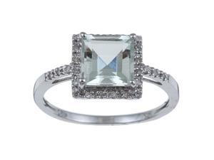 10k White Gold Square Green Amethyst and Diamond Ring (1/10 TDW) size 6.5