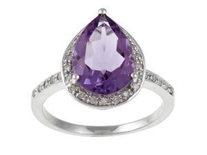 White Gold Pear Shape Amethyst and Diamond Ring (1/5 TDW) - size 5