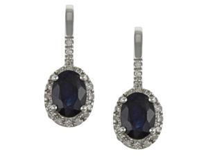 10k White Gold Genuine Blue Sapphire and Diamond Earrings (1/5 TDW)
