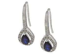 10k White Gold Genuine Blue Sapphire and Diamond Earrings (1/6 TDW)