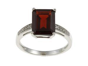 10k White Gold Emerald-Cut Garnet and Diamond Ring - size 7.5