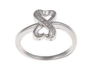 Sterling Silver 1/10ct TDW Diamond Heart Ring (G-H, I1-I2)
