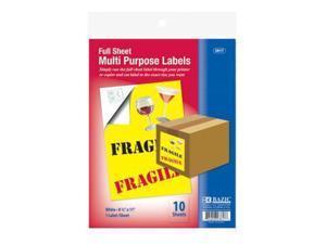 """BAZIC 8.5"""" X 11"""" Full Sheet Multipurpose Labels""(Pack of 24)"