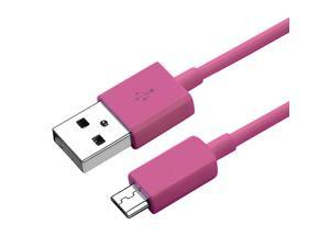 eForCity Universal Micro USB 2- in-1 Cable Compatible with HTC One M7, 3FT Hot Pink
