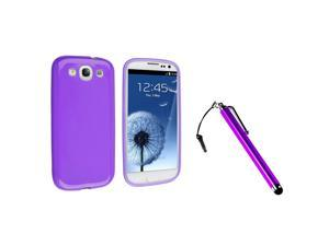 eForCity Purple Touch Screen Stylus + Purple Jelly TPU Rubber Skin Case Bundle Compatible With Samsung© Galaxy SIII/S3