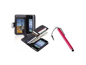 eForCity Black Leather Case with, Wallet + Red Touch Screen Stylus Bundle Compatible With Apple iPhone 4 - AT&T, 4 - Verizon, 4S