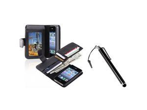 eForCity Black Leather Case with, Wallet + Black Touch Screen Stylus Bundle Compatible With Apple iPhone 4 - AT&T, 4 - Verizon, 4S