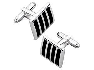 eForCity Cufflinks, Black / Silver Square Version 2