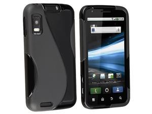 eForCity TPU Rubber Skin Case compatible with  Motorola Atrix 4G MB860, Frost Black S Shape