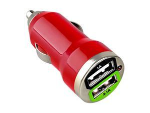 eForCity 2-Port USB Mini Car Charger Adapter Compatible With Samsung Galaxy Tab 4 7.0 / 8.0 / 10.1 / Nexus 5X / 6P, Red