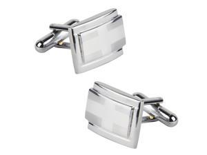 eForCity Silver Rectangle Cufflinks with Cross