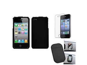 eForCity Film + Mat + Solid Black Phone Case Cover compatible with Apple® iPhone 4S/4