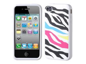 MYBAT Rainbow Zebra Skin/Black Pastel Gel Skin Case Compatible With Apple® iPhone 4 AT&T/Verizon 4G HD Protector Case