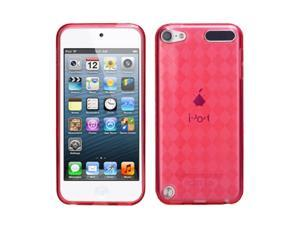 Apple iPod Touch 5th Gen/6th Gen Case, eForCity Argyle TPU Rubber Candy Skin Transparent Case Cover Compatible With Apple iPod Touch 5th Gen/6th Gen, Red