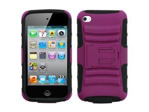 Hot Pink/Black Rugged Armor w/ Stand Protector Cover Case iPod Touch 4th G