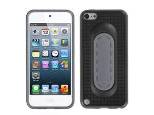 Apple iPod Touch 5th Gen/6th Gen Case, eForCity Stand TPU Rubber Candy Skin Case Cover Compatible With Apple iPod Touch 5th Gen/6th Gen, Black/Gray
