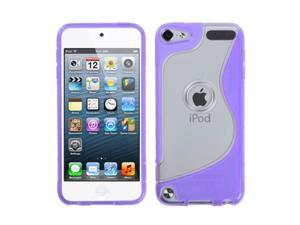 Apple iPod Touch 5th Gen/6th Gen Case, eForCity S Shape TPU Rubber Candy Skin Case Cover Compatible With Apple iPod Touch 5th Gen/6th Gen, Clear/Purple