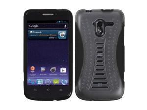 MYBAT ZTE-N9120 (Avid 4G) Transparent Clear/Solid Black Gummy Cover