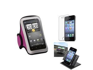 eForCity Film + Holder + Pink Sports Running Armband Case compatible with Apple® iPhone 4 4G