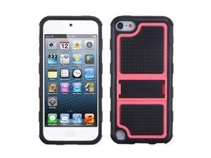 Apple iPod Touch 5th Gen/6th Gen Case, eForCity Gummy Stand PC/Silicone Case Cover Compatible With Apple iPod Touch 5th Gen/6th Gen, Black/Hot Pink