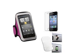 eForCity Film + Mat + Pink Sports Running Armband Case compatible with Apple® iPhone 4 4G