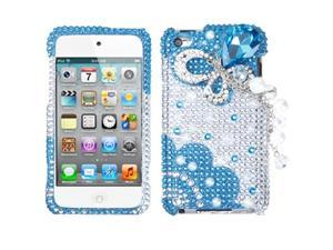 MYBAT Blue Butterfly Chain Premium 3D Diamante Protector Cover (with Package) Compatible With Apple® : iPod touch (4th generation)