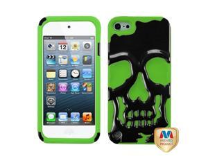 Apple iPod Touch 5th Gen/6th Gen Case, eForCity Skullcap Dual Layer [Shock Absorbing] Protection Hybrid PC/Silicone Case Cover Compatible With Apple iPod Touch 5th Gen/6th Gen, Green/Black