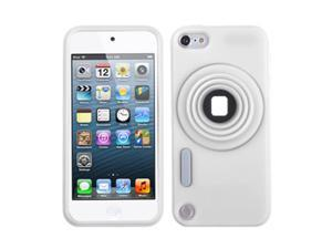 Apple iPod Touch 5th Gen/6th Gen Case, eForCity 3D Camera Style Stand Rubber Silicone Soft Skin Gel Case Cover Compatible With Apple iPod Touch 5th Gen/6th Gen, White