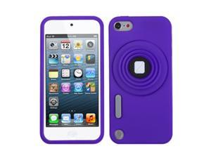 Apple iPod Touch 5th Gen/6th Gen Case, eForCity 3D Camera Style Stand Rubber Silicone Soft Skin Gel Case Cover Compatible With Apple iPod Touch 5th Gen/6th Gen, Purple