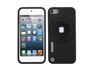 Apple iPod Touch 5th Gen/6th Gen Case, eForCity 3D Camera Style Stand Rubber Silicone Soft Skin Gel Case Cover Compatible With Apple iPod Touch 5th Gen/6th Gen, Black